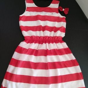 Nautical dress and handmade hair bows size 12